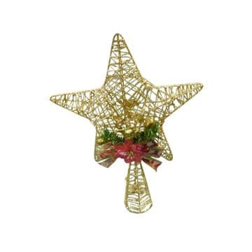 GOLDEN STAR with FESTIVE BOW CHRISTMAS TREE DECORATION ornament